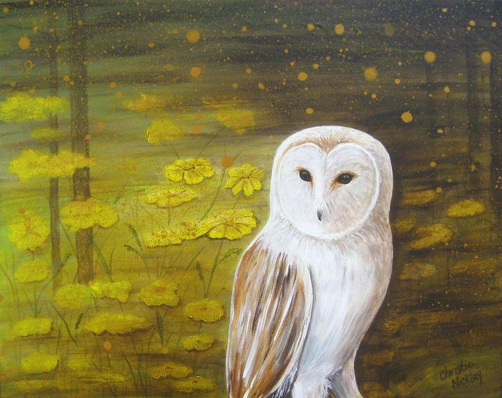 Meadow Barn Owl - Christie Nicklay Art