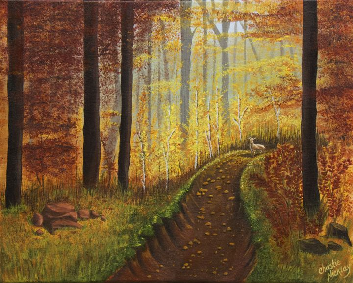 Autumn's Wooded Riverbed - Christie Nicklay Art