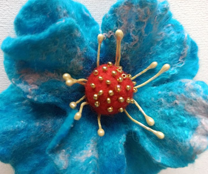 Blue poppy brooch handmade jewelry - NatalyArt