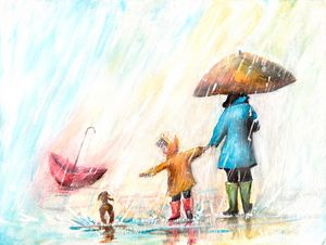Rainy day with umbrellas painting