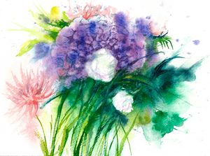 Abstract Flowers watercolor