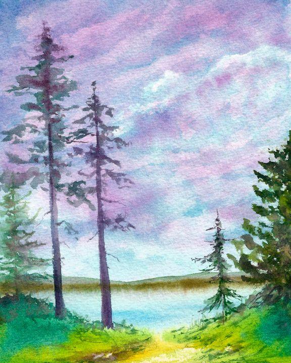 River landscape watercolor - NatalyArt
