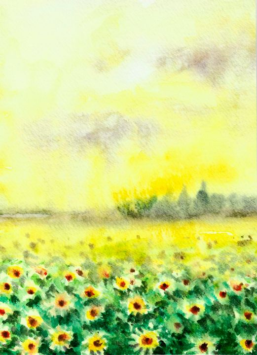 Sunflowers watercolor - NatalyArt