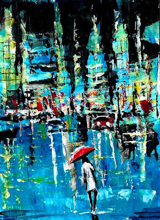 City streets with umbrellas - NatalyArt