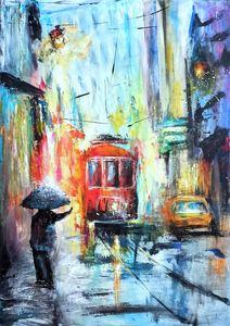 Rain in city painting