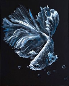 Gold Fish Black and White painting