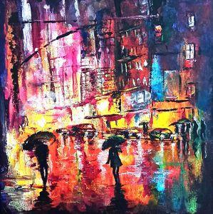 City rain night sky