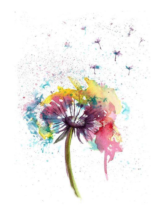 Dandelion watercolor - NatalyArt