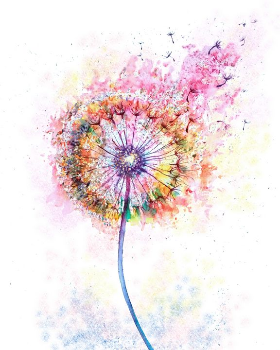 Abstract dandelion watercolor - NatalyArt