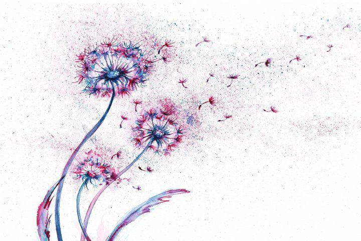 Dandelions abstract watercolor - NatalyArt