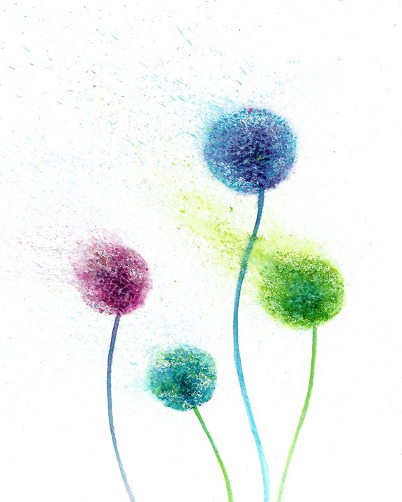 Colorful dandelions abstract - NatalyArt