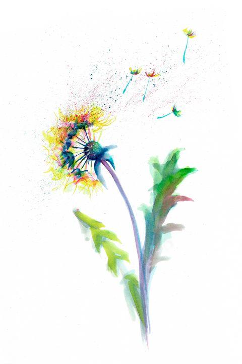 Abstract dandelion watercolor - NatalyArt