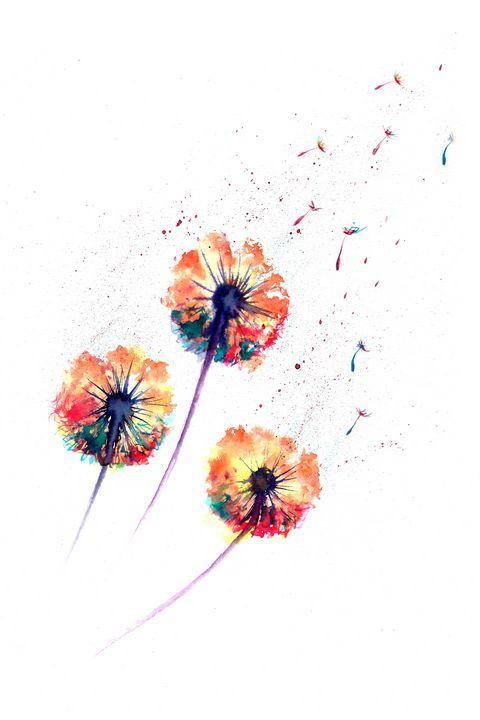 Abstract dandelion watercolor 4 - NatalyArt