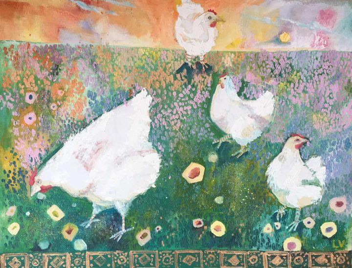 White garden guests - Elena Voitenko