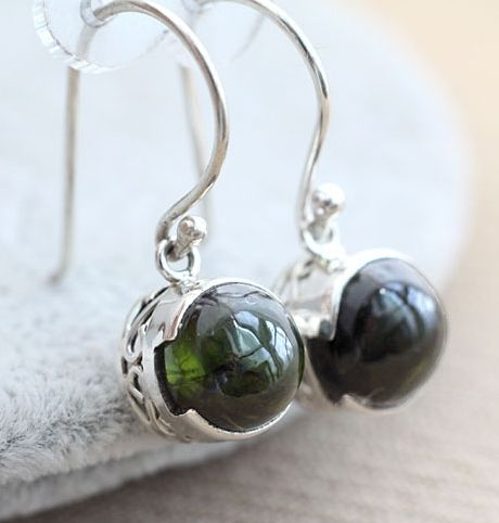 earrings silver and Tourmaline - LovingRings