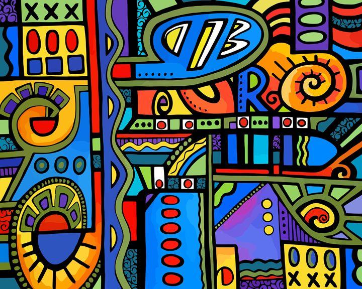 Whimsical Geometric Abstract #300 - Artwork by Lynne Neuman