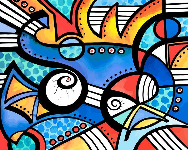 Whimsical Geometric Abstract #104 - Artwork by Lynne Neuman