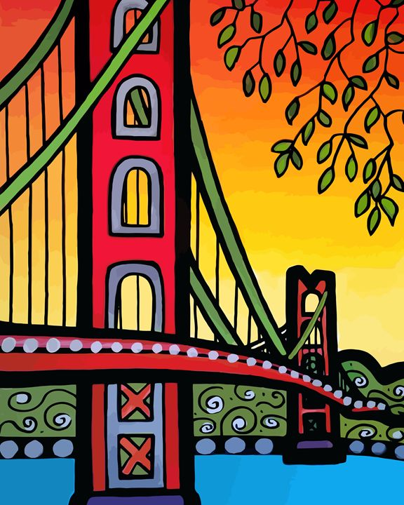 Golden Gate Bridge Vertical - Artwork by Lynne Neuman