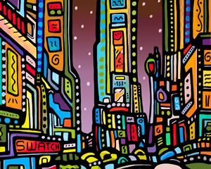 Times Square at Night New York - Artwork by Lynne Neuman