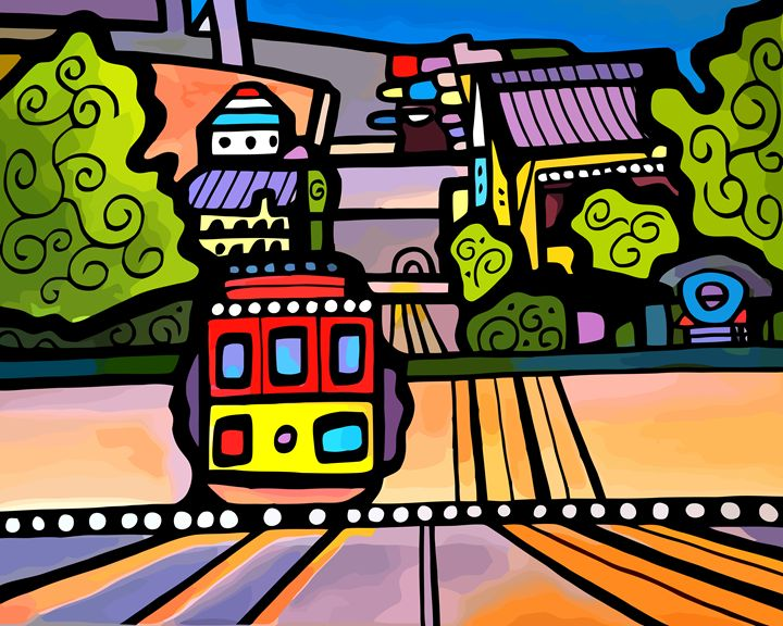 Cable Car on Hill San Francisco - Artwork by Lynne Neuman