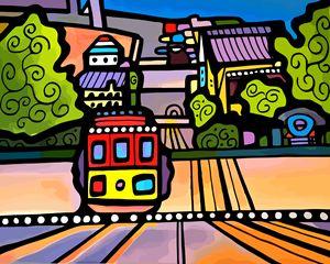 Cable Car on Hill San Francisco - Artwork by Lynne Neuman
