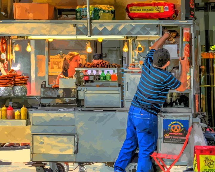 Hot Dog Vendor New York City - Artwork by Lynne Neuman