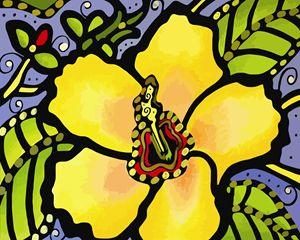 Yellow Hibiscus Flower - Artwork by Lynne Neuman
