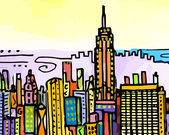 New York City Skyline - Artwork by Lynne Neuman