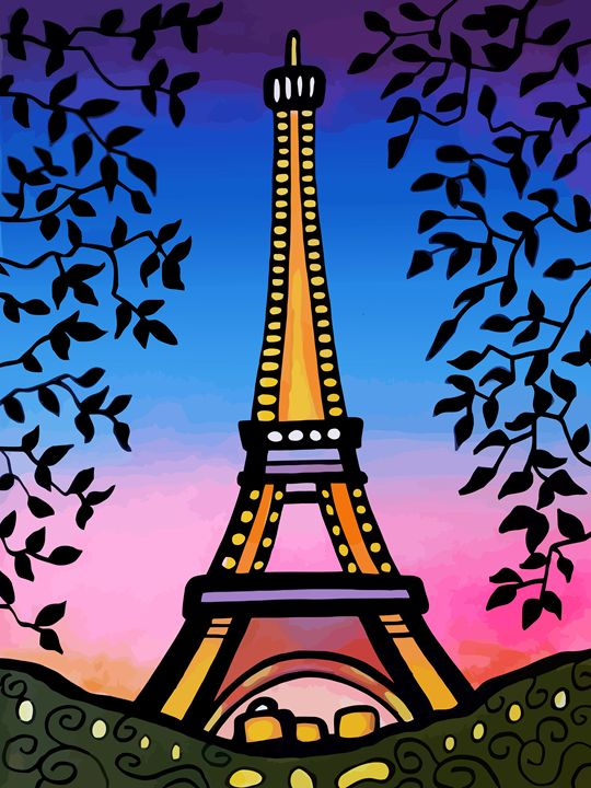 Eiffel Tower Paris Pink Blue Sky - Artwork by Lynne Neuman