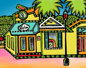 Key West Cafe Florida - Artwork by Lynne Neuman