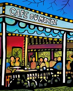 New Orleans Cafe Du Monde - Artwork by Lynne Neuman