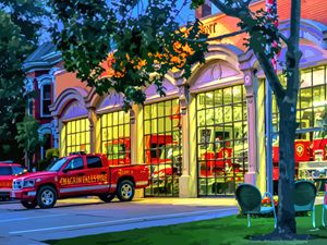 Fire Station Chagrin Falls Ohio - Artwork by Lynne Neuman