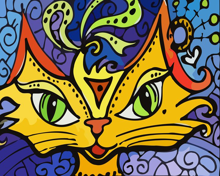 Whimsical Cat - Artwork by Lynne Neuman