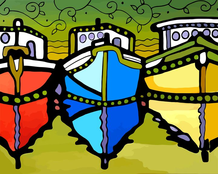 Three Boats Primary Colors - Artwork by Lynne Neuman