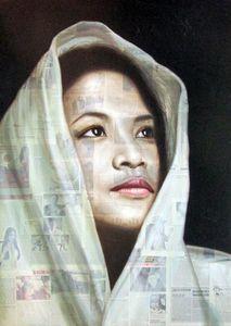 White shawl by Lê Anh Thanh