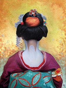 Blue geisha by Nguyễn Xuân Sang