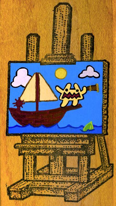 Triangle Monster Sets Sail - ArtSempek