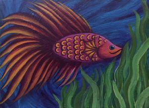 Pink Beta Fish