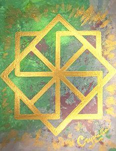 Golden Symbol acrylics painting
