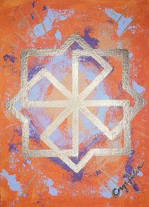 Orange Molvinets acrylics painting