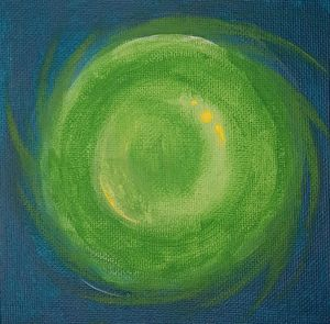 Green Sphere acrylics painting