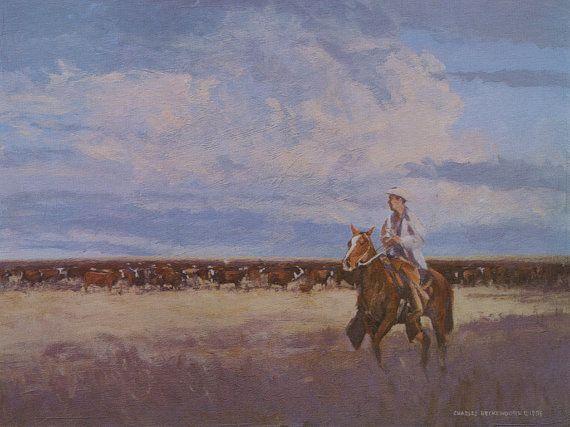 Cowboy Clouds Cattle Texas Art Beckendorf Texas Art