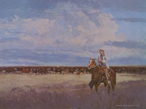 Cowboy, Clouds & Cattle | Texas Art