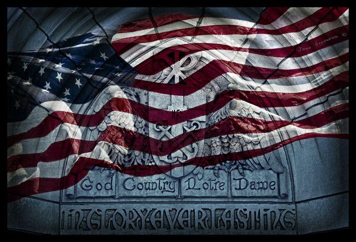 American Flag God Country Notre Dame - John Stephens