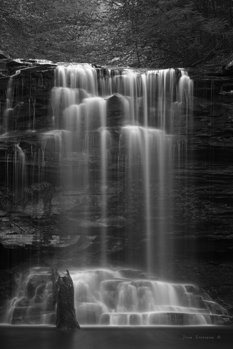 Weeping Wilderness Waterfall Black a - John Stephens