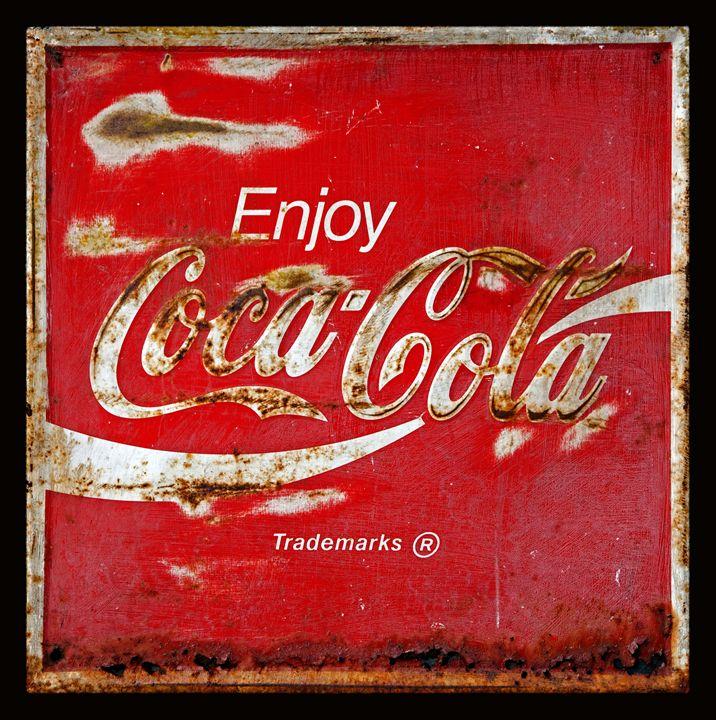 Coca Cola Vintage Rusty Sign Black B - John Stephens