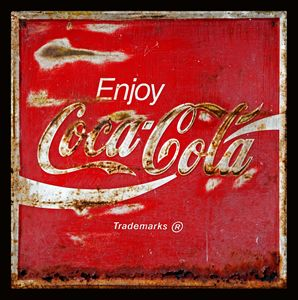 Coca Cola Vintage Rusty Sign Black B