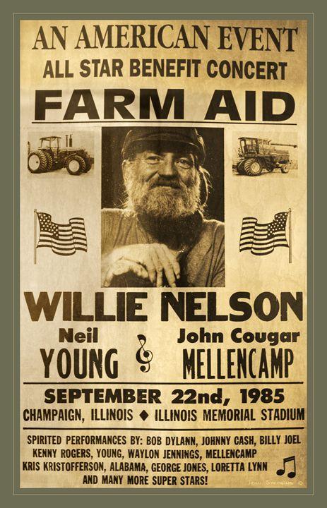 Vintage Willie Nelson 1985 Farm Aid - John Stephens