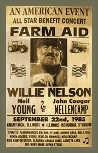 Vintage Willie Nelson 1985 Farm Aid