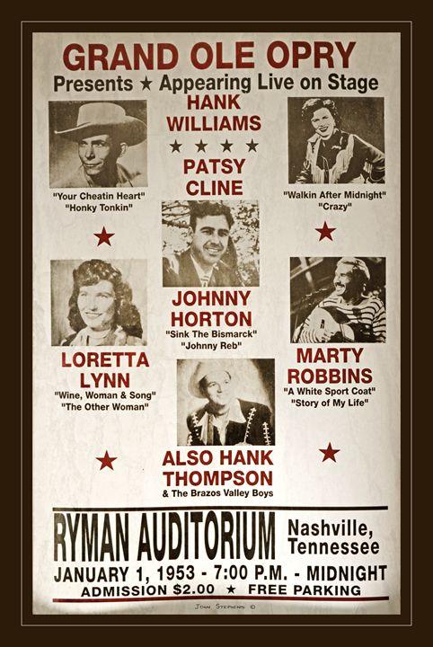 Vintage 1953 Grand Ole Opry Poster - John Stephens
